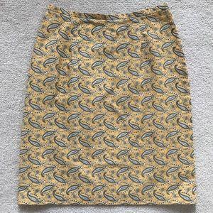 Harold's Yellow and Blue Paisley Print Skirt